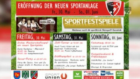 Ankündigung Eröffnung der neuen Sportanlage Reichenau