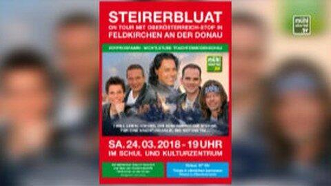 Ankündigung Benefizkonzert mit Steirerbluat in Feldkirchen