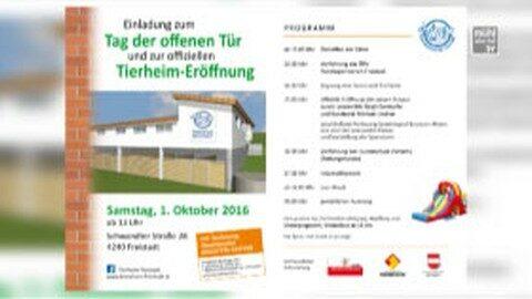 Ankündigung Eröffnung Tierheim Freistadt am 1.10.2016