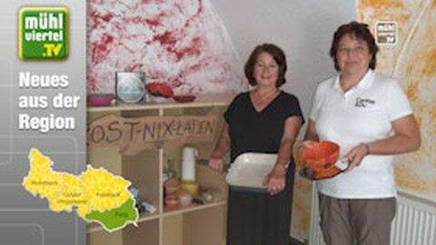 Erster Kost-Nix-Laden im Bezirk Perg am Marktplatz Mauthausen eröffnet