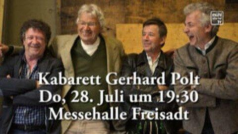 Ankündigung Lebenshilfe-Kabarett Gerhard Polt und die Well-Brüder in der Messehalle Freistadt