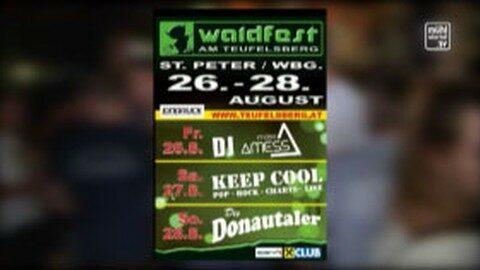 Ankündigung Waldfest am Teufelsberg in St. Peter am Wimberg