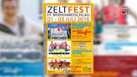 Ankündigung Zeltfest der FF Bernhardschlag