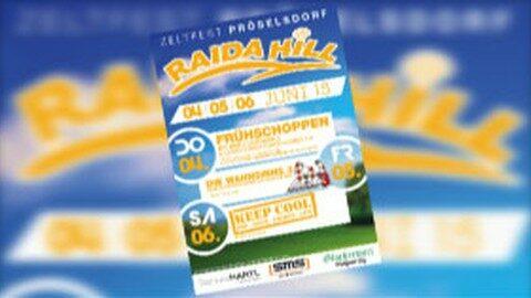 Ankündigung RAIDA HILL Zeltfest in Pröselsdorf