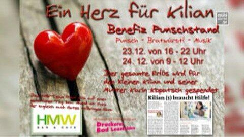Ankündigung Benefizpunschstand für Kilian/Familie Kopatsch in Bad Leonfelden