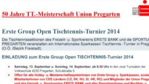 Ankündigung Union Pregarten: 50 Jahre Tischtennis Meisterschaft
