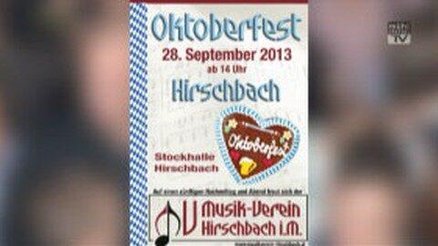 Ankündigung Oktoberfest in Hirschbach 2013