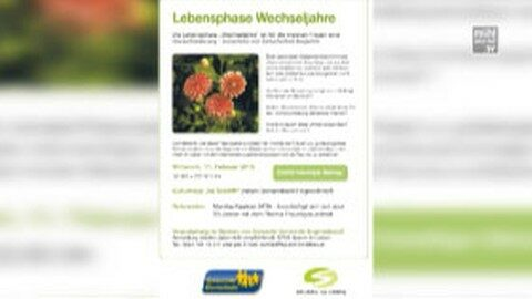 Ankündigung Wechseljahre Vortrag im Schöffel Engerwitzdorf