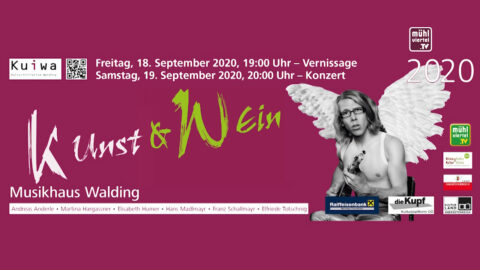 Ankündigung Kunst und Wein in Walding mit Konzert Blonder Engel am 18. und 19.9.2020